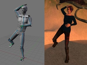 Comparison of Blender and SL poses