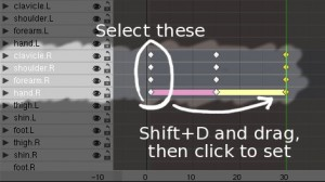 Copying frames 1 to frame 30. Select keyframes on frame 1, Shift+D to duplicate, then move the mouse and click to set.