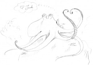 "Sketch of an octopus with tentacles in a heart shape and a thought bubble that says ""(heart shape) Jacek\"""