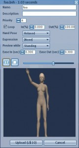 Uploading your animation to Second Life.